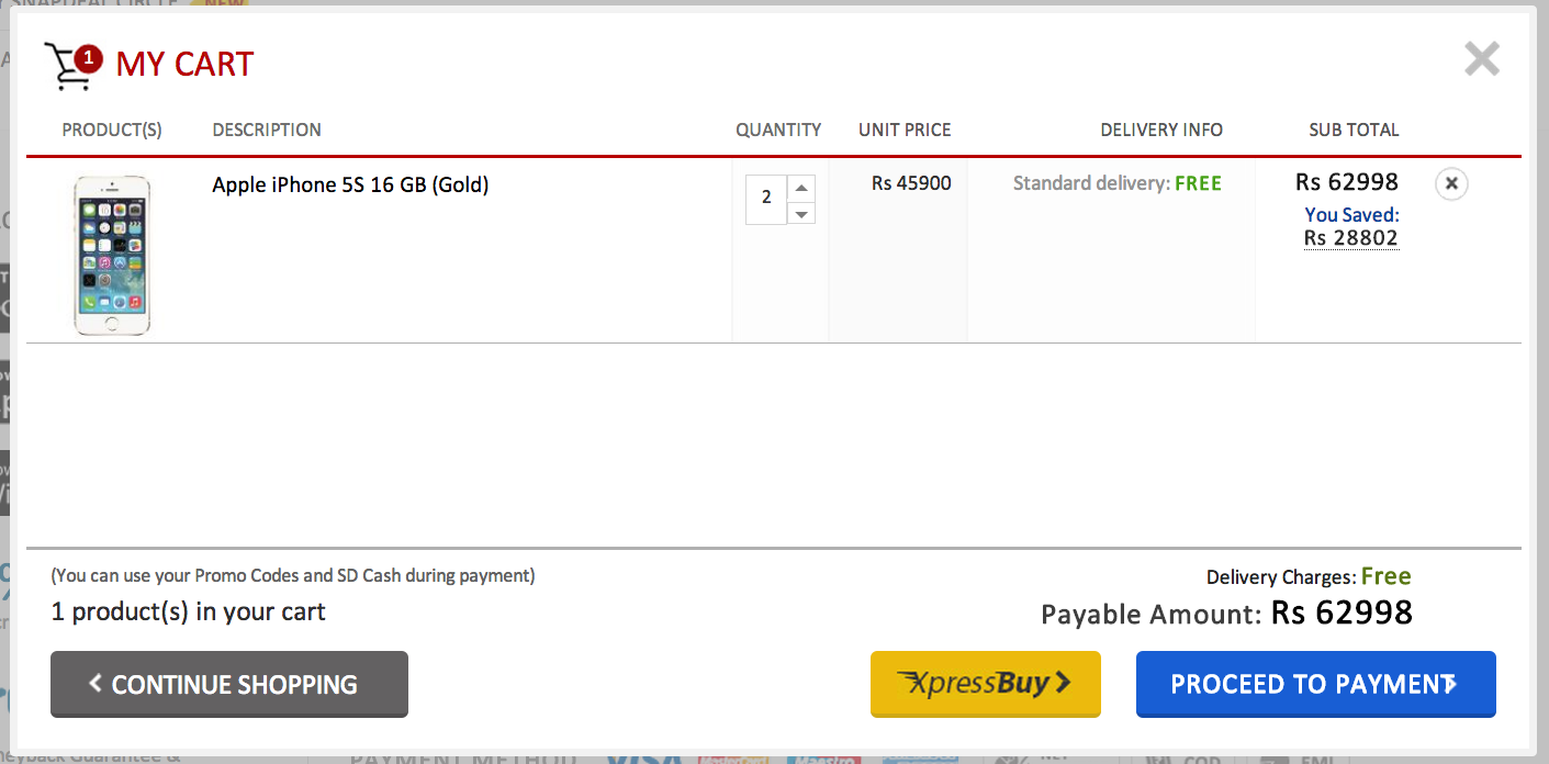 2 iPhone 5s on nov 11 sale of snapdeal, in my cart
